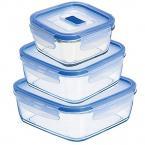 Фото Luminarc Pure Box Active Blue Набор емкостей для еды прямоугольных  (L7942 )