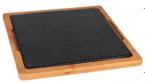 Фото Чугунное блюдо на деревянной основе 29х29 см (чугунная подставка 25х25 см) (B941021)