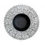 Фото Тарелка круглая  матово-глянцевая с рисунком  белый бамбук  10  (25,4см) (FC0019-10)