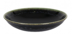 Фото Кругла тарілка супова 19,5х5 см, чорно-зелена (В758098)