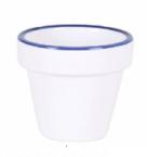 Фото Ведерко біле з синім кантом 6,5х7 см (В904043С6)