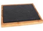 Фото Чугунное блюдо на деревянной основе 34х20 см (чугунная подставка 30х16 см) (B941023)