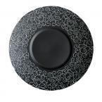 Фото Тарелка круглая черная матовая с узором 10  (25,4см)