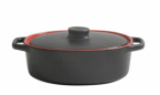 Фото Кастрюлька овальная керамическая черно-красная 17х10х5 см, 300 мл (B904002V2)