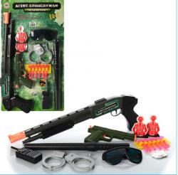 Набор полицейского (ружье,очки,пистолет,наручники) на листе HU M 0259 U/R 54см