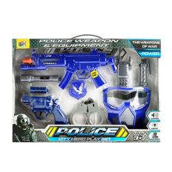 Набор с оружием - автомат 30см, пистолет 14см, маска, фонарик (звук, свет, бат. Таб.), 111A-1