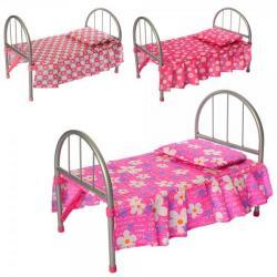 Кроватка для куклы металлическая (матрас, подушка), размер спального места 42-25 см, 9342 - WS 2772