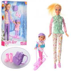 Кукла 29см, дочь, лыжи, рюкзак, DEFA 8356