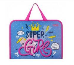 Папка - портфель 1Вересня Cool girl FC пластиковая на молнии с тканевыми ручками, 491851