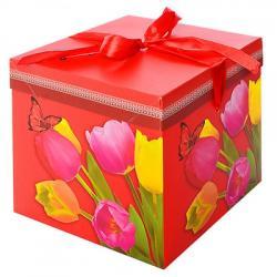 Коробка подарочная бумажная Stenson Тюльпаны 22-22-22см, N00384