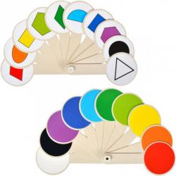 Веер с цветами и геометрическими фигурами 160