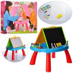 Мольберт двухсторонний (столик игровой, маркеры, мел, губка), 8805-06