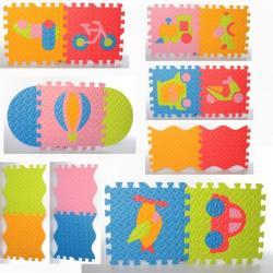 Коврик Мозаика напольное покрытие (1 текстура, пазлы, транспорт, 9 деталей, 31-31см.), EVA, M 6098