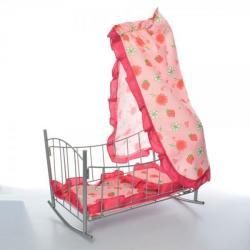 Кроватка для куклы 47-38-35 см металл, качалка, балдахин, подушка, 9349