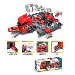 Трейлер 35 см. Пожарная 2в1 (контейнер гараж-кран, машинки 2 шт. 6 см.), P904-A