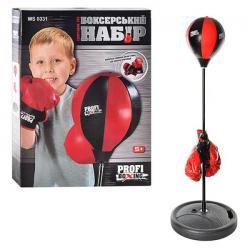Боксерский набор, груша диаметр 20 см., На стойке, перчатки 2 шт., MS 0331