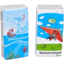 Салфетки-платочки бумажные, однослойные Детская КРА2Р