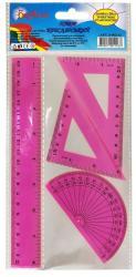 Измерительные приборы розовые (линейка 20см, треугольник 12см, транспортир) 9-602-12