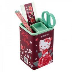 Настольный канцелярский набор 4 предмета квадратный Hello Kitty Kite, HK19-214