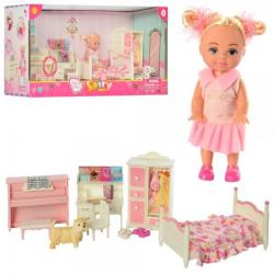 Кукла 10,5см (спальня, мебель, пианино музыкальное, собачка, бат.), DEFA 8413