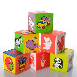 Кубики мягкие, для купания, погремушка, 6шт (7х7) в пакете 5930