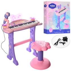 Синтезатор 37 клавиш (на ножках, стульчик, микрофон, свет) 6613