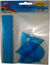Измерительные приборы синие (линейка 20см, треугольник 12см, транспортир) 9-602-06