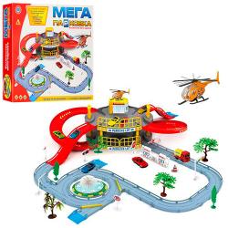 Гараж (машинка, вертолет, 2 этажа, дорожные знаки, деревья) в коробке 922-9