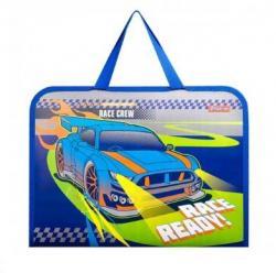 Папка - портфель 1Вересня Street race FC пластиковая на молнии с тканевыми ручками, 491856