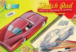 Альбом для рисования 8 листов, скоба. Серия Ретро-авто - купе.