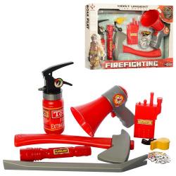 Набор пожарного F002 огнетушитель, лом, фонарик, рупор, свет, бат. (Табл.), Кор., 46-28,5-9см.