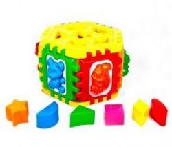 Логический куб Сортер (шестиграний с геометрическими и животных. вкладышами) 50-002 KW