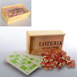 Лото деревянное (бочонки, карты, пенал) M 0031