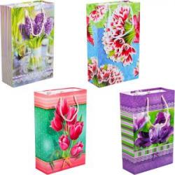 Пакет цветной средний Цветы 26х16,5х7см