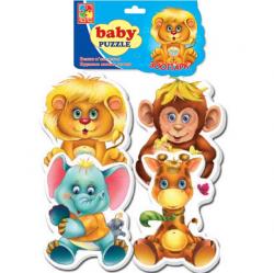 Бэби пазлы Vladi Toys Зоопарк 4шт укр VT1106-10