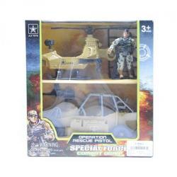 Набор военного - вертолет, джип, солдат, 6630A
