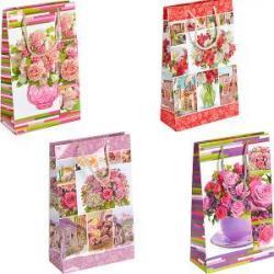 Пакет цветной средний Цветочный микс 27х16х5см 3012