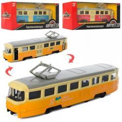 Трамвай металлический инерционный 18,5см., AS-2436
