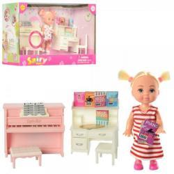 Кукла 10,5см. (Стол, стул, пианино, звук, на батарейках), DEFA 8414