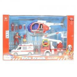 Набор спасателей Пожарные - транспорт 3шт., Фигурка (свет, звук, на батарейках табл.), 9929C