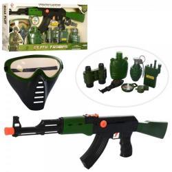 Набор военного - автомат-трещотка, маска, рация, бинокль, часы, компас, M016C