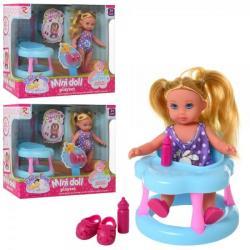 Кукла 13см. (Ходунки, бутылочка, обувь), 8235