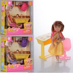 Кукла 13см, письменный стол, рюкзак, стул 8298