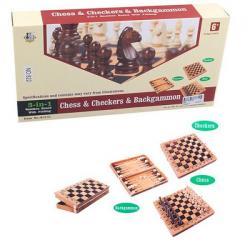 Шахматы деревянные 3 в 1, 822