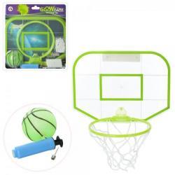 Баскетбольное кольцо (щит 30-22см, кольцо 18см, сетка, мяч, насос, светится в темноте), M 5715