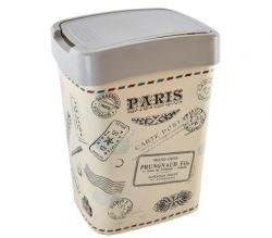 Мусорное ведро Евро, 10л, 23.5-18.5-32 см., С декором кремовый Париж