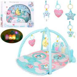 Коврик для младенца 80-60см, дуги 2 шт., Подвески 5 шт., Пианино, проектор (свет, звук, на батарею