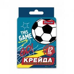 Мел 1Вересня Team football цветной квадратный 12 шт., 400414