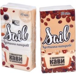 Салфетки-платочки бумажные, однослойные Кофе и шоколад КРА2Р