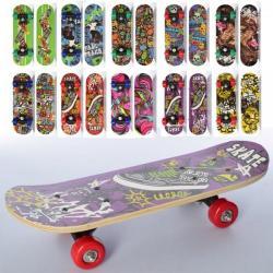 Скейт 43-13 см., Пластиковая подвеска, колеса ПВХ, 7 слоев, MS 0324-4